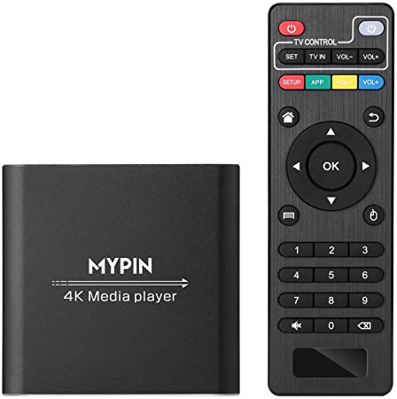 4. 4K Media Player with Remote Control, Digital MP4 Player for 8TB HDD/ USB Drive / TF Card