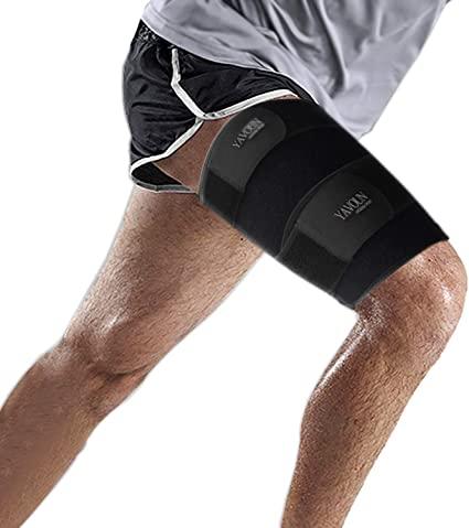 7. Thigh Compression Sleeve - Hamstring Wrap, Thigh Brace for Pulled Groin Muscle, Tendinitis, Workouts, Quadricep Sports Injury Recovery