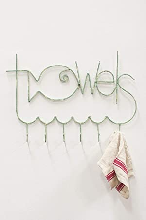7. Fishy Towel Rack - Antique Turquoise Metal, 30.5 x 20.5 in by Kalalou