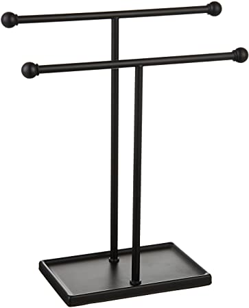 10. Amazon Basics Double-T Hand Towel Holder and Accessories Jewelry Stand, Black