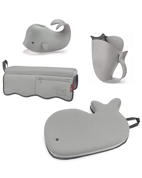 5. Skip Hop Moby Baby Bath Set with Four Bathtime Essentials, Spout Cover, Bath Kneeler, Elbow Pad, and Waterfall Rinser