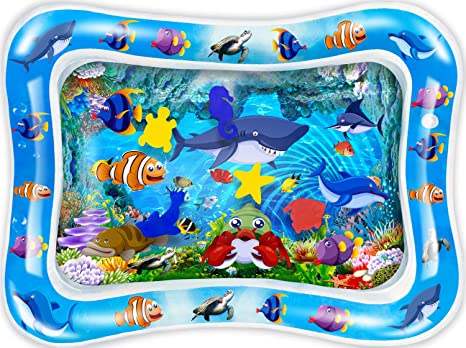 7. CUKU Tummy time Water Play mat Baby and Toddlers is The Perfect Fun time Play Inflatable Water mat