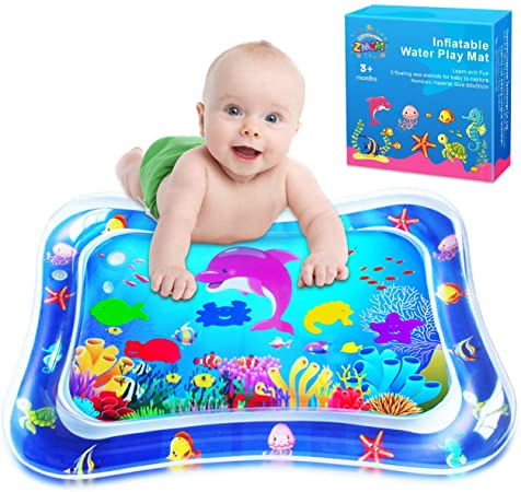 3. ZMLM Baby Tummy-Time Water Mat: Infant Toy Gift Activity Play Mat Inflatable Sensory Playmat Babies Belly Time Pat Indoor Small Pad