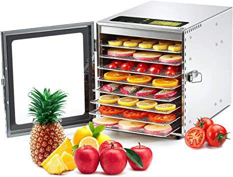 8. Colzer Food Dehydrator Machine (67 Free Recipes) 8 Stainless Steel Trays Adjustable Thermostat Digital Food Dehydrator